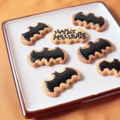 ハッピーハロウィン こうもり型のアイシングクッキー