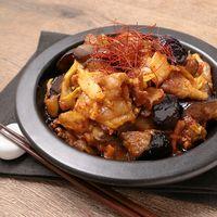 豚バラとナスの味噌キムチ炒め