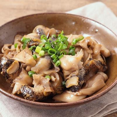 つぶ貝と舞茸のガリバタポン酢ソテー