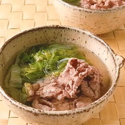 牛肉とレタスの春雨フォー風スープ