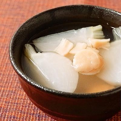 干し貝柱とカブのスープ