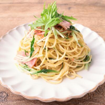水菜とベーコンの梅スパゲティ