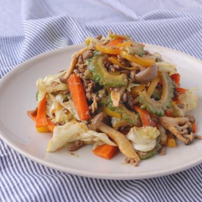 さっと簡単 5種野菜の肉味噌炒め
