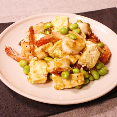 ぷりぷり海老とあつあつ豆腐の八宝菜風炒め