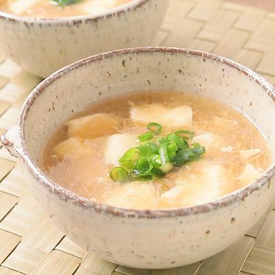 たまご豆腐となめたけのあったかおろしあんかけスープ