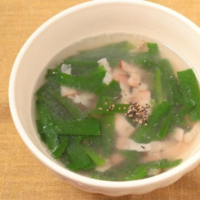 ニラとベーコンのスープ