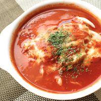 レンジで簡単 トマトスープのキャベツチーズミルフィーユ