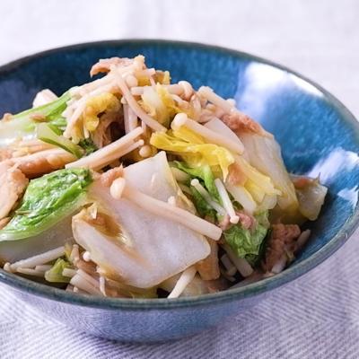 簡単でおいしい 白菜とえのきのツナ煮