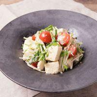 豆腐と水菜のわさびドレッシングサラダ