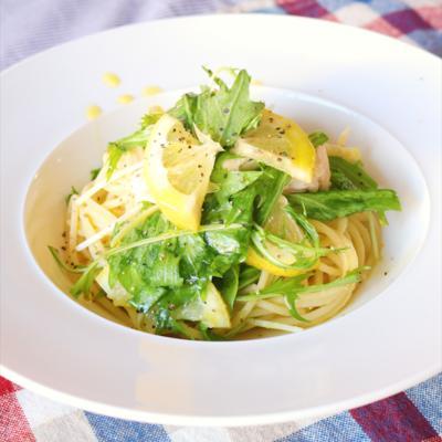 和えて簡単!水菜とささみのレモンバター醤油スパゲティ