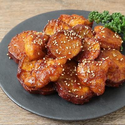 さつまいもと鶏肉の甘辛コチュジャン炒め