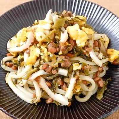 納豆と高菜のねばねば焼きうどん