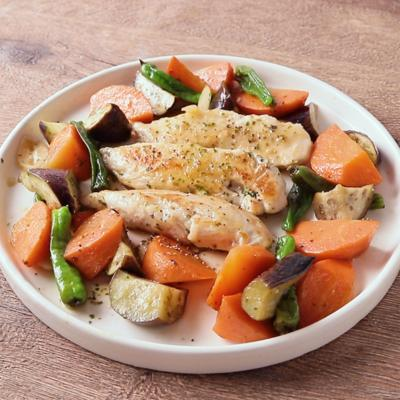 野菜たっぷりささみのイタリアン風蒸し焼き