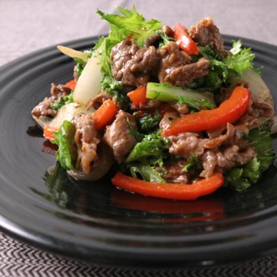 牛肉とわさび菜のオイスター炒め