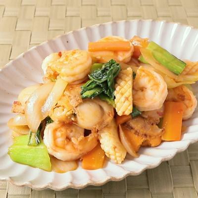 海鮮とチンゲン菜のピリ辛炒め
