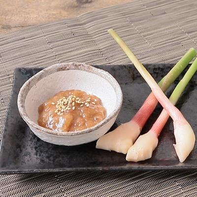 葉生姜の梅味噌ディップ