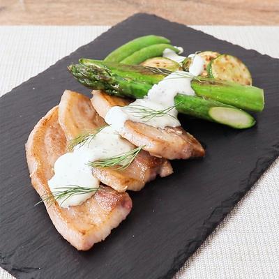 豚バラ肉と野菜のソテー わさびマヨ風味