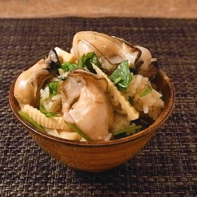 三つ葉香る プリプリ牡蠣とタケノコのおこわ