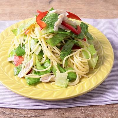 ロメインレタスのさっぱり冷製スパゲティ