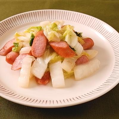 ウインナーと白菜の塩こしょう炒め