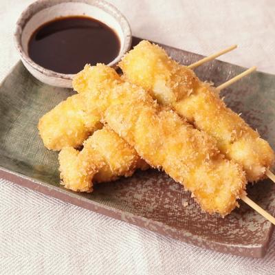 鶏むね肉のねぎま串カツ