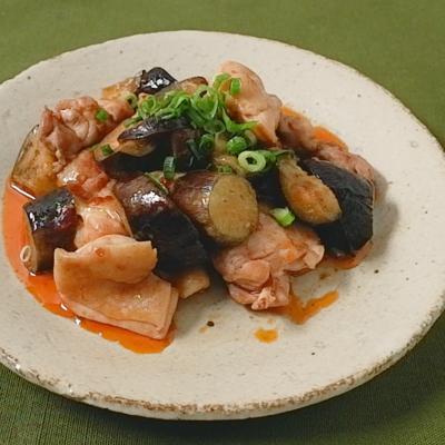 鶏もも肉とナスの中華風ピリ辛炒め