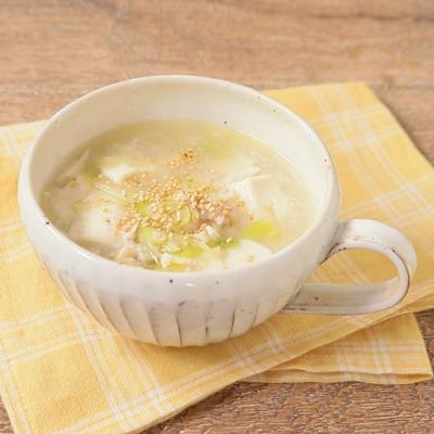 レンジで簡単 豆腐とひき肉の中華スープ