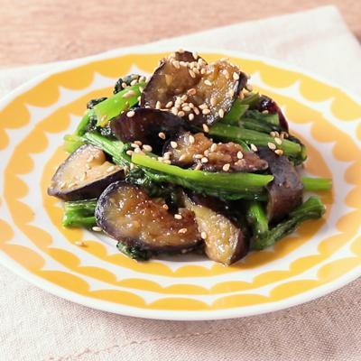ナスと小松菜の味噌炒め