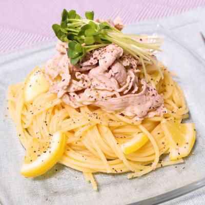 さっぱり爽やか 豚しゃぶ肉の冷製塩レモンパスタ