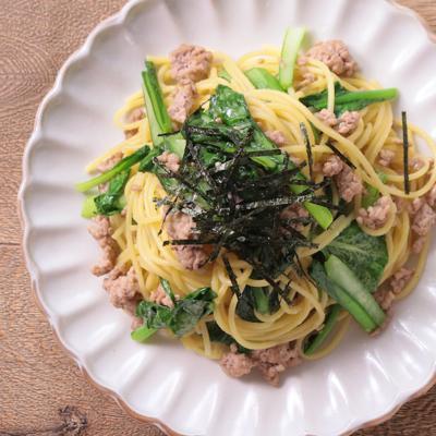 小松菜とひき肉の和風スパゲティ