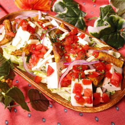 豆腐と薄揚げでメキシカン風サラダ