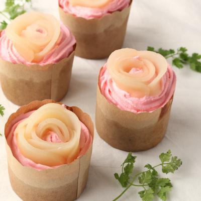 簡単かわいい桃のカップケーキ