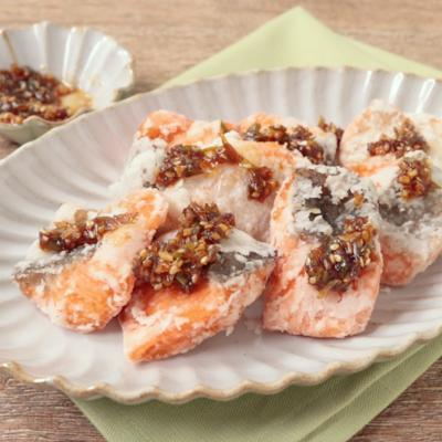 常備菜 鮭の竜田の香味だれ