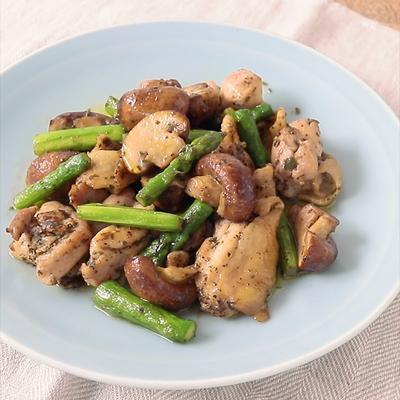 鶏もも肉とマッシュルームのハーブオイル焼き