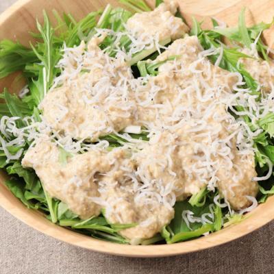 水菜の豆腐海苔ソースサラダ