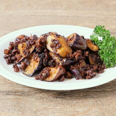 カリカリひき肉のスパイシー焼きナス