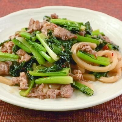 ラム肉と小松菜の焼きうどん