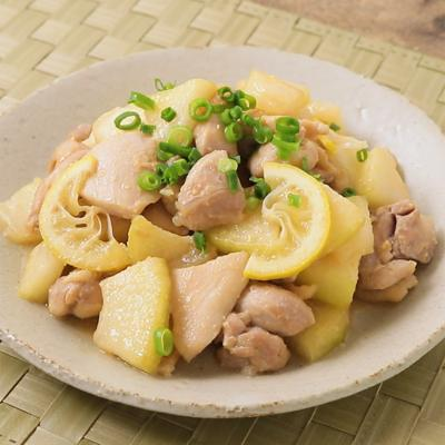 冬瓜と鶏肉のレモン味噌炒め