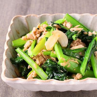 小松菜とツナのガーリック炒め