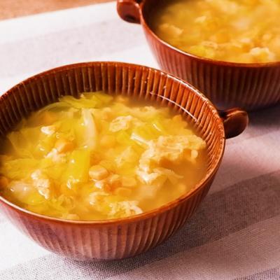 春キャベツとコーンの卵スープ
