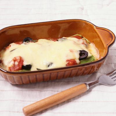 トースターで オクラのトマトチーズ焼き