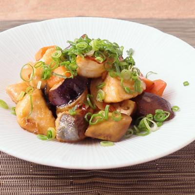 鰆と彩り野菜の黒酢炒め