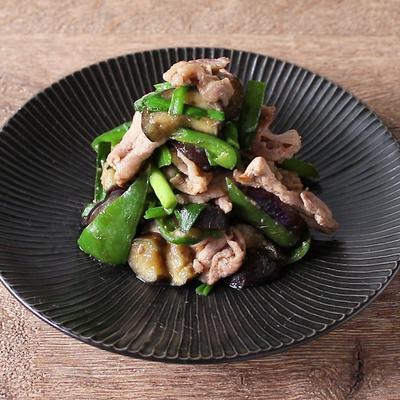 豚こま肉とナスピーマンの味噌炒め
