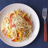 パプリカのペペロナータスパゲティ