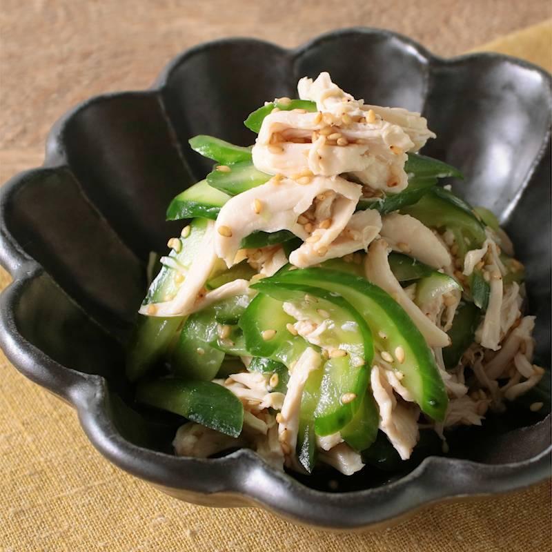 きゅうりと鶏ささみのごま酢和え レシピ・作り方