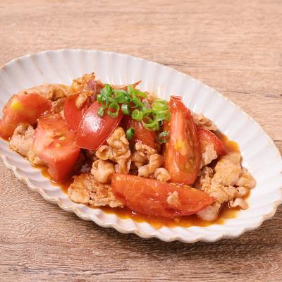 豚バラ肉とトマトのポン酢炒め