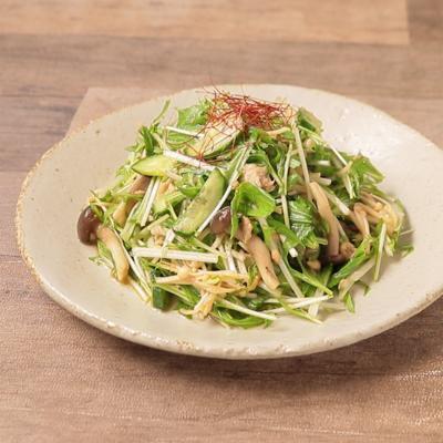 水菜のきのこドレッシングサラダ