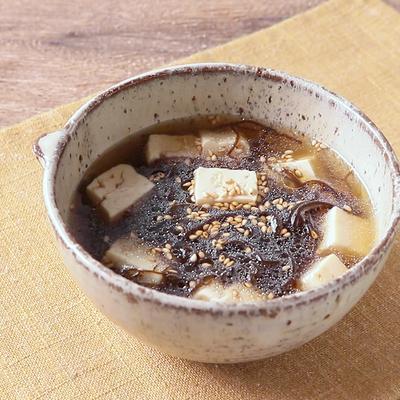 簡単 もずくと豆腐の中華スープ