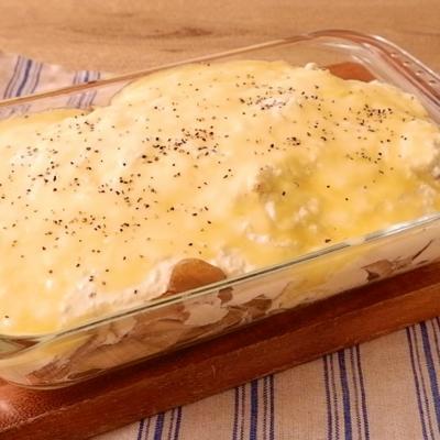 豆腐クリームソースで鮭ときのこのマカロニグラタン