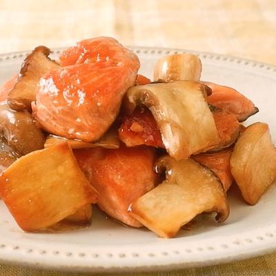 鮭とエリンギのバターしょうゆ炒め